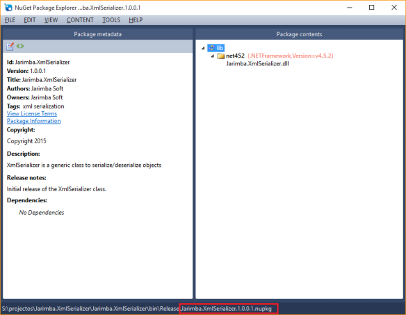 Jarimba.XmlSerializer.1.0.0.1.nupkg metadata and package contents